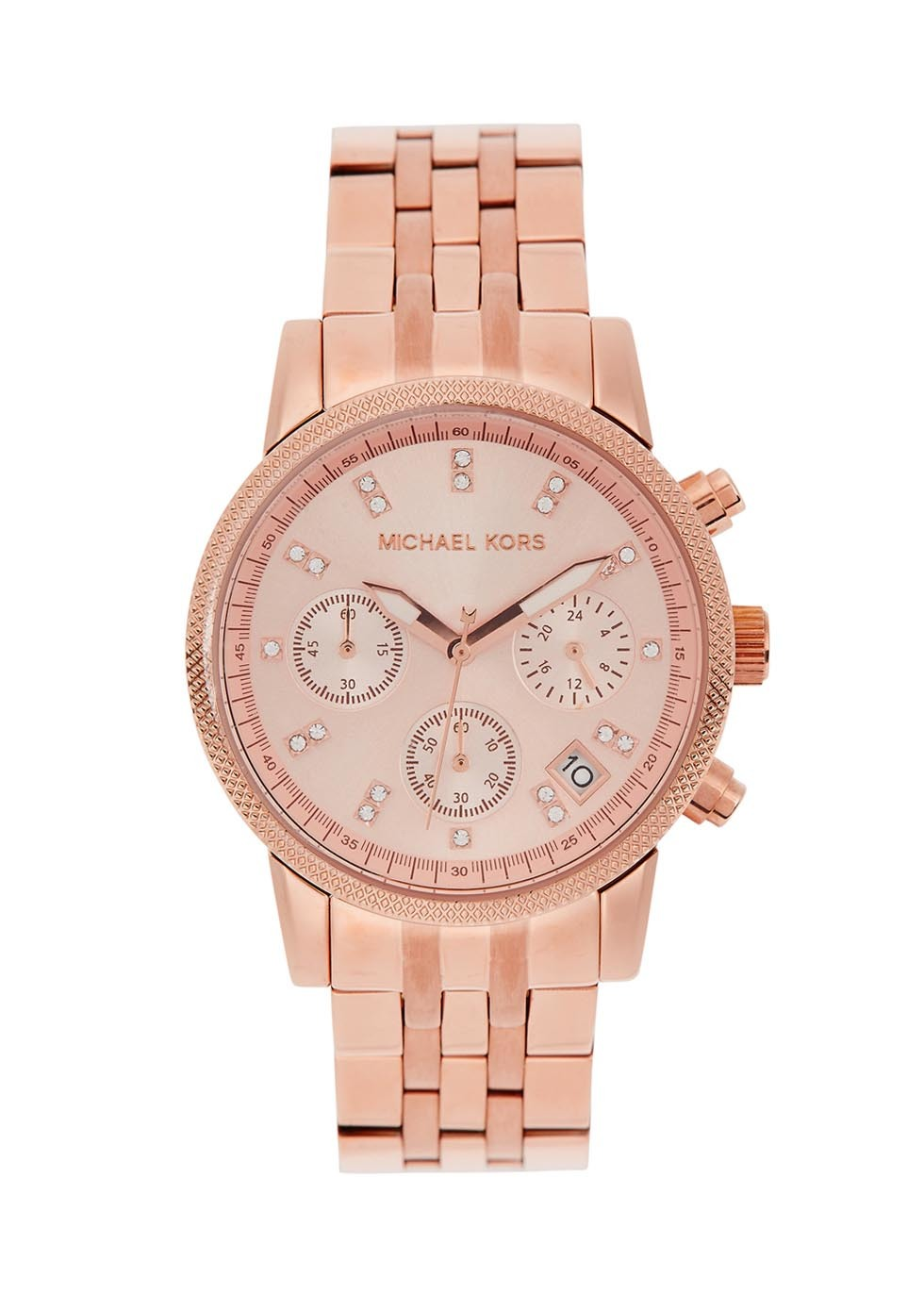 Ritz Rose Gold Tone Chronograph Watch - predominant colour: gold; occasions: work, creative work; style: boyfriend; size: large/oversized; material: chain/metal; finish: plain; pattern: plain; season: a/w 2015