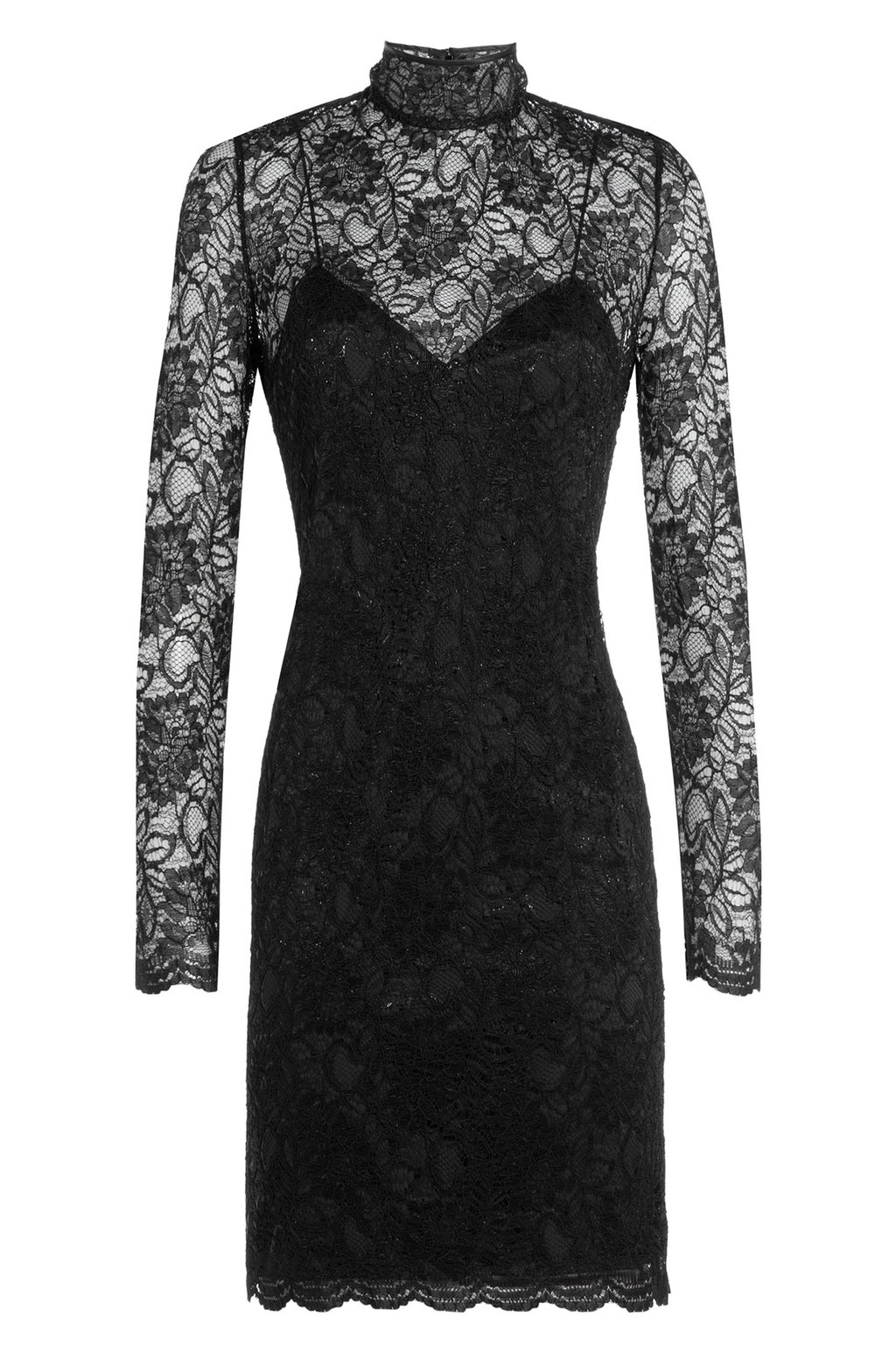 Lace Cocktail Dress Black - fit: tight; neckline: high neck; style: bodycon; bust detail: sheer at bust; predominant colour: black; length: just above the knee; sleeve length: long sleeve; sleeve style: standard; texture group: lace; pattern type: fabric; pattern: patterned/print; fibres: viscose/rayon - mix; season: a/w 2015; wardrobe: highlight