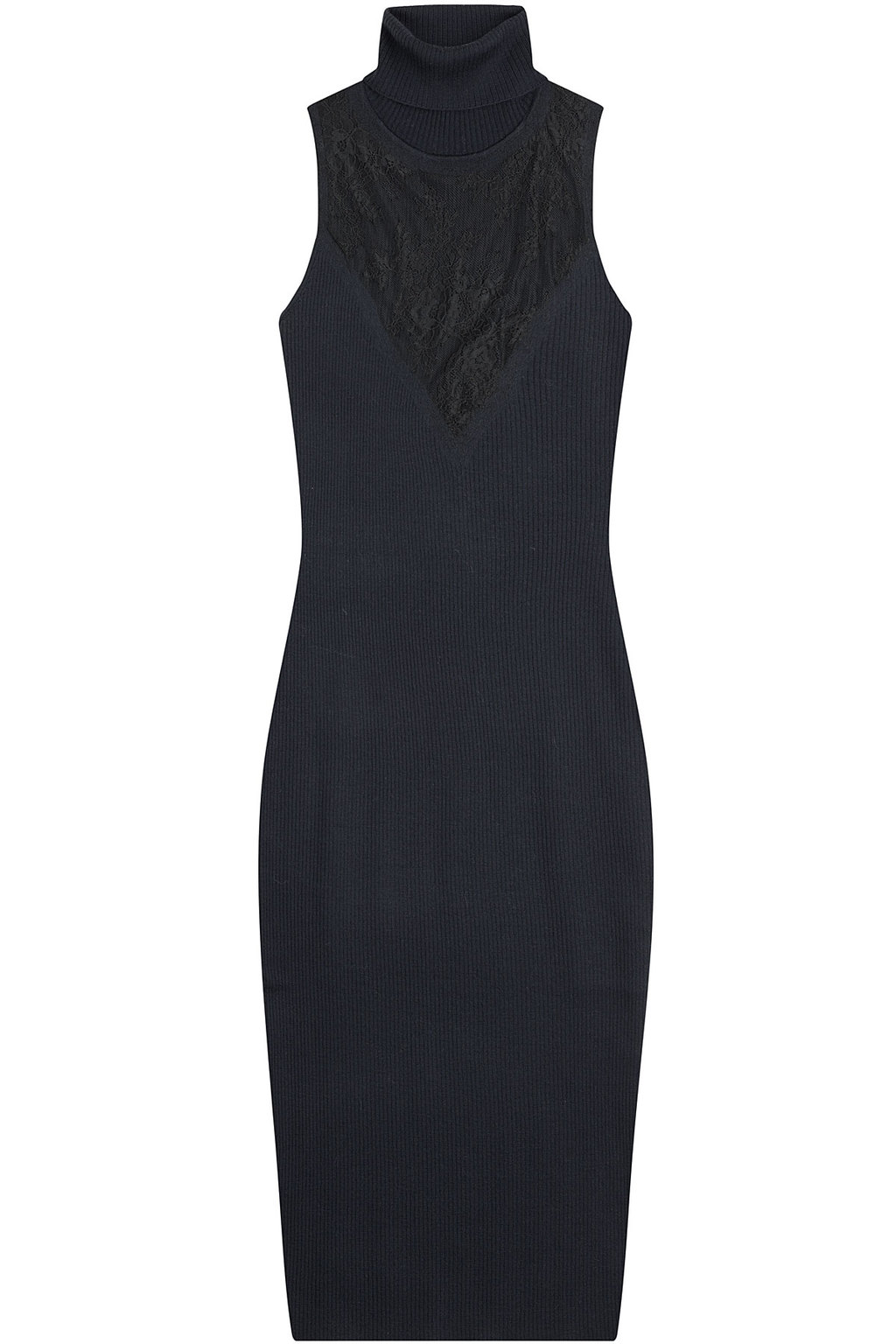 Sleeveless Wool Dress With Lace - style: jumper dress; length: below the knee; fit: tight; pattern: plain; sleeve style: sleeveless; neckline: roll neck; predominant colour: navy; secondary colour: black; fibres: wool - mix; sleeve length: sleeveless; texture group: knits/crochet; pattern type: knitted - other; embellishment: lace; occasions: creative work; season: a/w 2015; wardrobe: highlight; embellishment location: bust