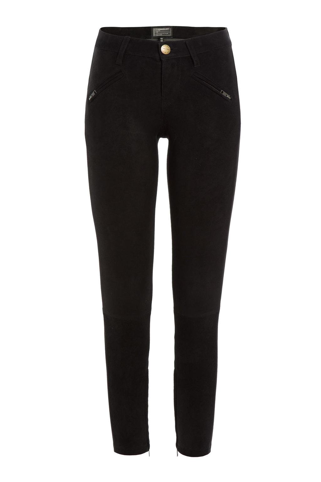 Skinny Suede Pants Black - length: standard; pattern: plain; pocket detail: small back pockets; waist: mid/regular rise; predominant colour: black; occasions: casual, evening, creative work; fibres: leather - 100%; fit: skinny/tight leg; pattern type: fabric; texture group: suede; style: standard; season: a/w 2015