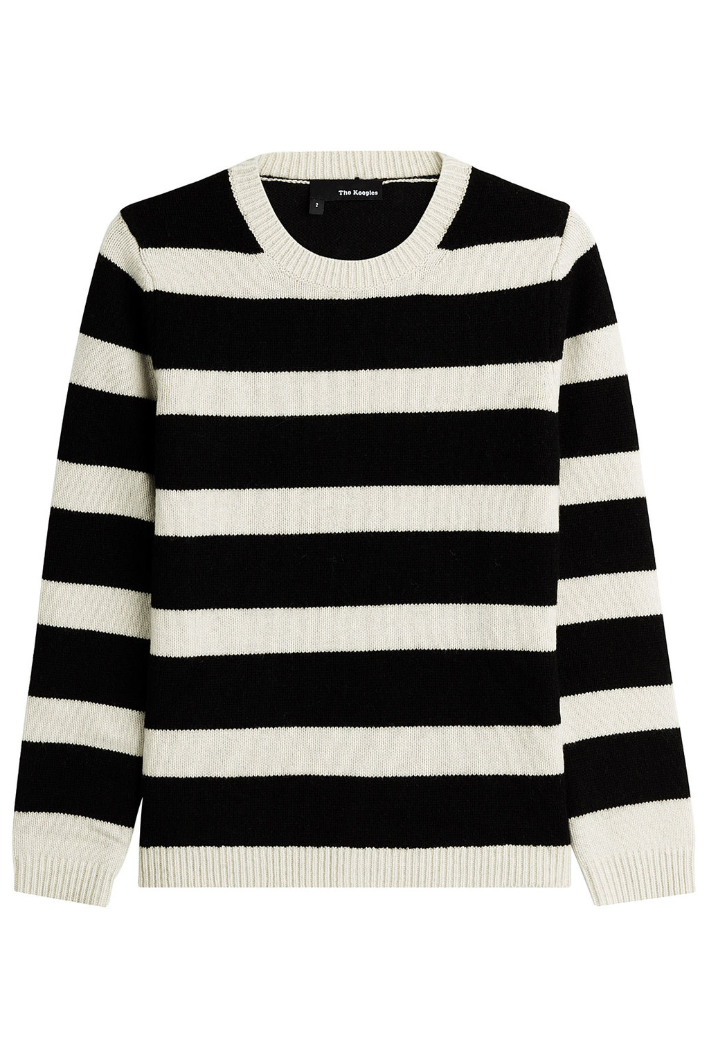 Wool Blend Striped Pullover Stripes - pattern: horizontal stripes; style: standard; secondary colour: white; predominant colour: black; occasions: casual, creative work; length: standard; fibres: wool - mix; fit: standard fit; neckline: crew; sleeve length: long sleeve; sleeve style: standard; texture group: knits/crochet; pattern type: knitted - fine stitch; pattern size: standard; season: a/w 2015