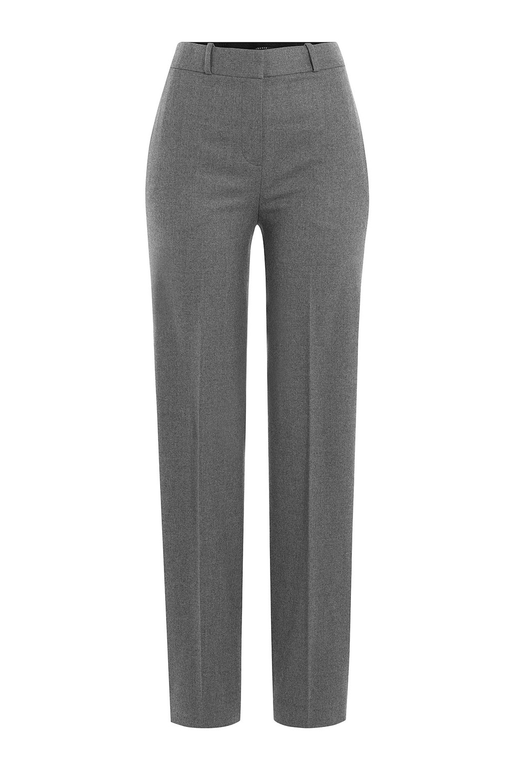 Wool Trousers Grey - length: standard; pattern: plain; pocket detail: pockets at the sides; waist: mid/regular rise; predominant colour: mid grey; occasions: work, creative work; fibres: wool - mix; fit: straight leg; pattern type: fabric; texture group: woven light midweight; style: standard; season: a/w 2015; wardrobe: basic