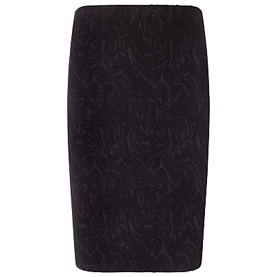 Mona Textured Skirt, Black - style: pencil; fit: tailored/fitted; waist: high rise; predominant colour: black; occasions: evening, creative work; length: just above the knee; fibres: polyester/polyamide - stretch; pattern type: fabric; pattern: patterned/print; texture group: brocade/jacquard; pattern size: standard (bottom); season: a/w 2015; wardrobe: highlight