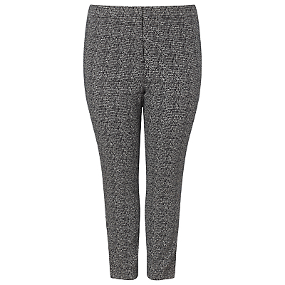 Alexa Jacquard Trousers, Black/White - length: standard; waist: mid/regular rise; predominant colour: mid grey; occasions: casual, creative work; fit: slim leg; pattern type: fabric; pattern: patterned/print; texture group: brocade/jacquard; style: standard; pattern size: big & busy (bottom); season: a/w 2015; wardrobe: highlight