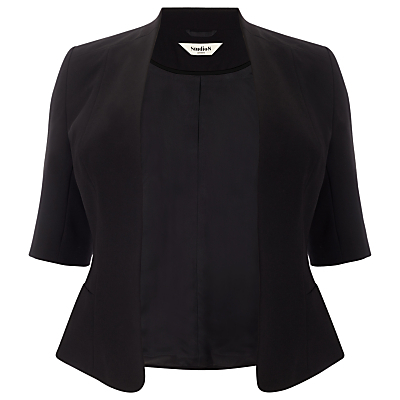 Lexi Jacket, Black - pattern: plain; style: single breasted blazer; collar: round collar/collarless; predominant colour: black; occasions: evening, creative work; length: standard; fit: tailored/fitted; fibres: polyester/polyamide - 100%; sleeve length: 3/4 length; sleeve style: standard; collar break: low/open; pattern type: fabric; texture group: woven light midweight; season: a/w 2015; wardrobe: investment