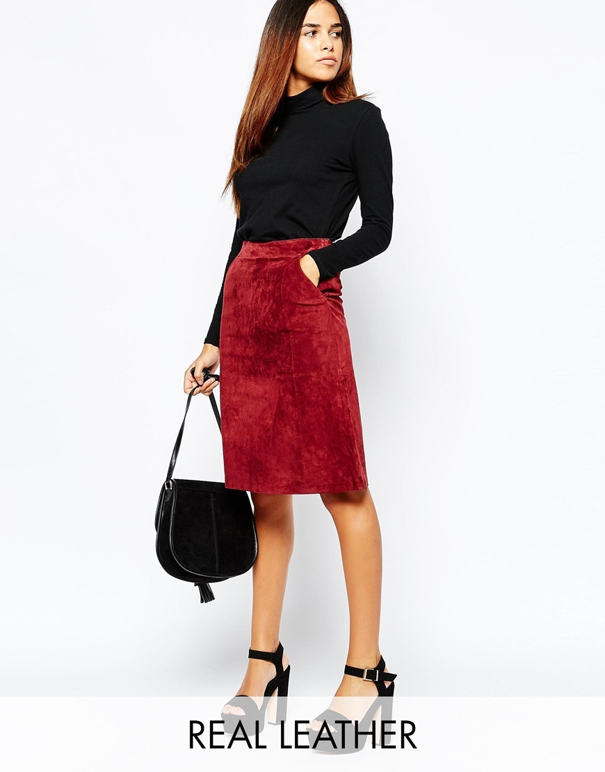 Suede Midi Skirt Berry - pattern: plain; style: pencil; fit: tailored/fitted; waist: high rise; predominant colour: true red; occasions: evening, creative work; length: on the knee; texture group: suede; season: a/w 2015