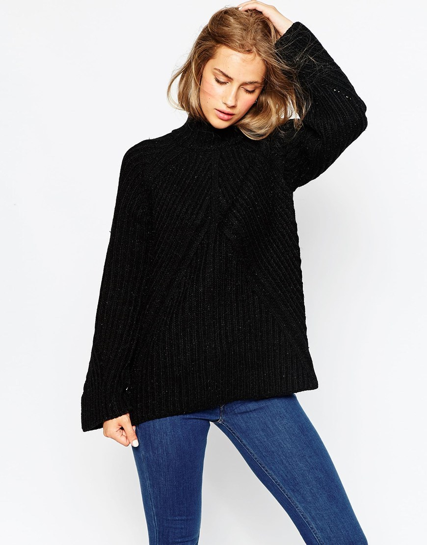 Chunky Jumper With High Neck And Moving Rib Black - pattern: plain; neckline: high neck; style: standard; predominant colour: black; occasions: casual, creative work; length: standard; fibres: acrylic - 100%; fit: loose; sleeve length: long sleeve; sleeve style: standard; texture group: knits/crochet; pattern type: knitted - other; season: a/w 2015; wardrobe: basic