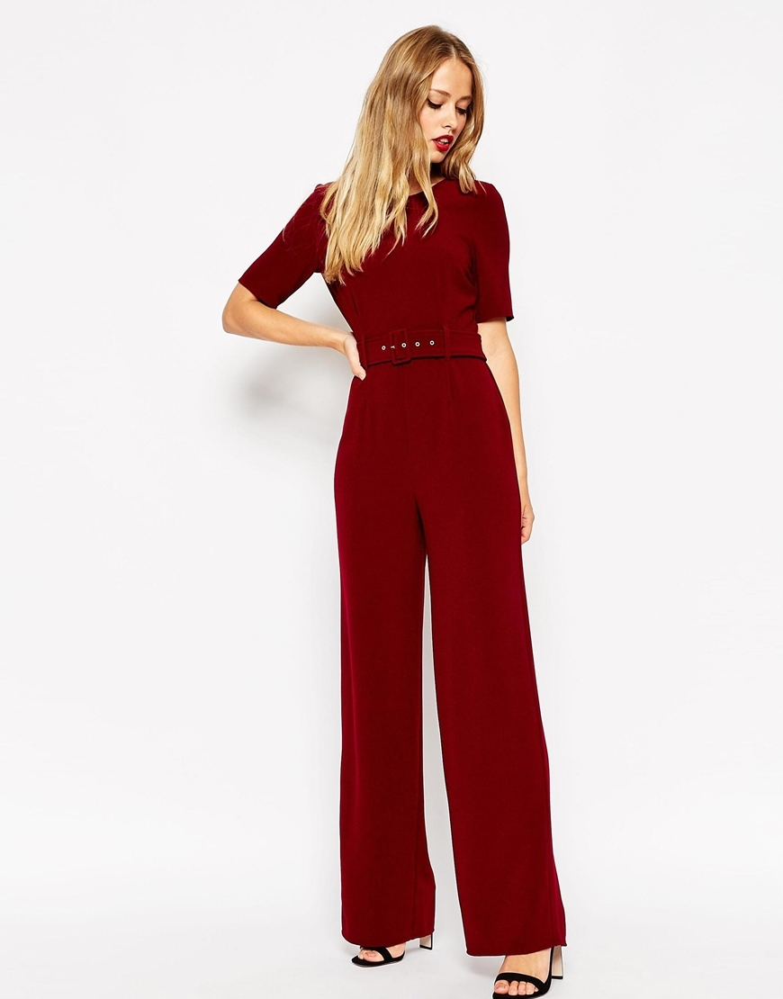 Self Belt Short Sleeve Jumpsuit Wine - length: standard; fit: fitted at waist; pattern: plain; occasions: evening, occasion; neckline: crew; sleeve length: half sleeve; sleeve style: standard; texture group: crepes; style: jumpsuit; pattern type: fabric; predominant colour: raspberry; season: a/w 2015; wardrobe: event