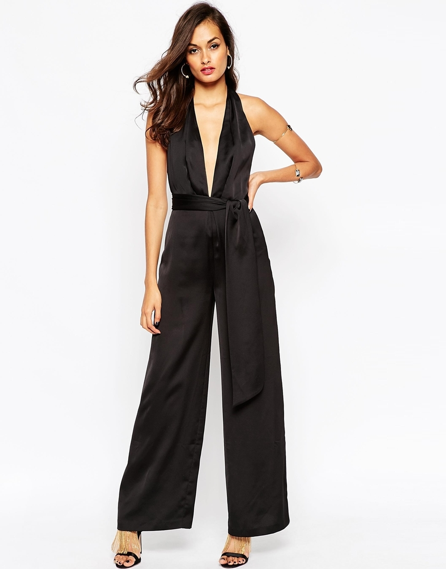 Premium Origami Plunge Jumpsuit Black - length: standard; neckline: plunge; fit: fitted at waist; pattern: plain; sleeve style: sleeveless; predominant colour: black; occasions: evening, occasion; sleeve length: sleeveless; style: jumpsuit; pattern type: fabric; texture group: woven light midweight; season: a/w 2015; wardrobe: event