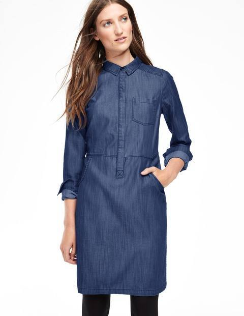 Cord & Denim Shirt Dress Denim Women, Denim - style: shift; neckline: shirt collar/peter pan/zip with opening; pattern: plain; predominant colour: denim; occasions: casual, creative work; length: just above the knee; fit: body skimming; fibres: cotton - 100%; sleeve length: long sleeve; sleeve style: standard; texture group: denim; bust detail: bulky details at bust; pattern type: fabric; season: a/w 2015; wardrobe: basic