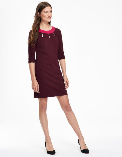 Tilly Tunic Dress Dark Burgundy/Amaranth Women, Dark Burgundy/Amaranth - style: shift; length: mid thigh; neckline: round neck; pattern: plain; predominant colour: burgundy; secondary colour: magenta; occasions: evening; fit: soft a-line; fibres: cotton - stretch; sleeve length: 3/4 length; sleeve style: standard; pattern type: fabric; texture group: jersey - stretchy/drapey; season: a/w 2015