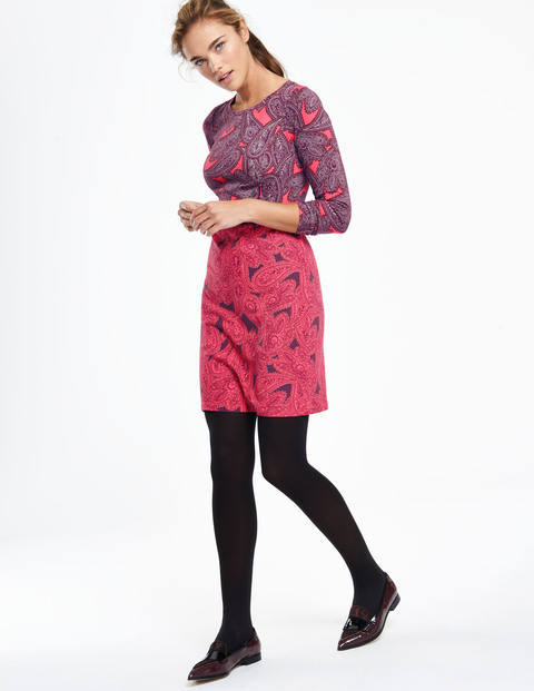 Retro Hotchpotch Tunic Dress Reds Paisley Print Women, Reds Paisley Print - style: shift; pattern: paisley; predominant colour: hot pink; secondary colour: purple; occasions: casual, creative work; length: just above the knee; fit: body skimming; fibres: cotton - 100%; neckline: crew; sleeve length: long sleeve; sleeve style: standard; texture group: cotton feel fabrics; pattern type: fabric; pattern size: standard; multicoloured: multicoloured; season: a/w 2015; wardrobe: highlight