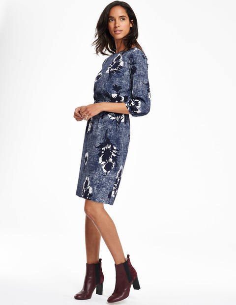 Jodie Dress Blue Textured Flower Women, Blue Textured Flower - style: shift; fit: fitted at waist; predominant colour: royal blue; secondary colour: black; occasions: evening, creative work; length: just above the knee; fibres: viscose/rayon - 100%; neckline: crew; sleeve length: 3/4 length; sleeve style: standard; pattern type: fabric; pattern size: standard; pattern: florals; texture group: woven light midweight; multicoloured: multicoloured; season: a/w 2015
