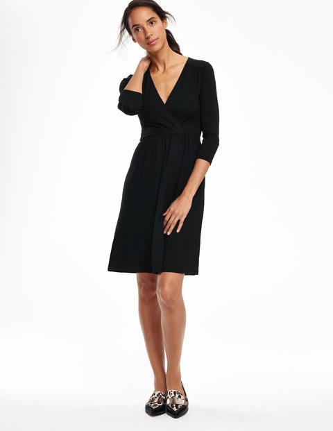 Glenda Dress Black Women, Black - style: faux wrap/wrap; neckline: low v-neck; pattern: plain; waist detail: belted waist/tie at waist/drawstring; predominant colour: black; occasions: casual, creative work; length: just above the knee; fit: body skimming; fibres: polyester/polyamide - stretch; sleeve length: 3/4 length; sleeve style: standard; texture group: jersey - stretchy/drapey; season: a/w 2015; wardrobe: basic