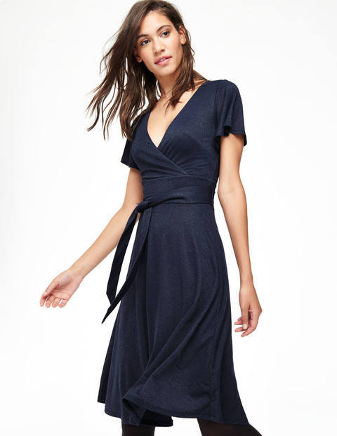 Lara Sparkle Dress Navy Women, Navy - style: faux wrap/wrap; length: below the knee; neckline: low v-neck; pattern: plain; waist detail: belted waist/tie at waist/drawstring; bust detail: subtle bust detail; predominant colour: navy; occasions: evening, occasion; fit: body skimming; fibres: polyester/polyamide - stretch; sleeve length: short sleeve; sleeve style: standard; pattern type: fabric; texture group: jersey - stretchy/drapey; embellishment: glitter; season: a/w 2015; wardrobe: event