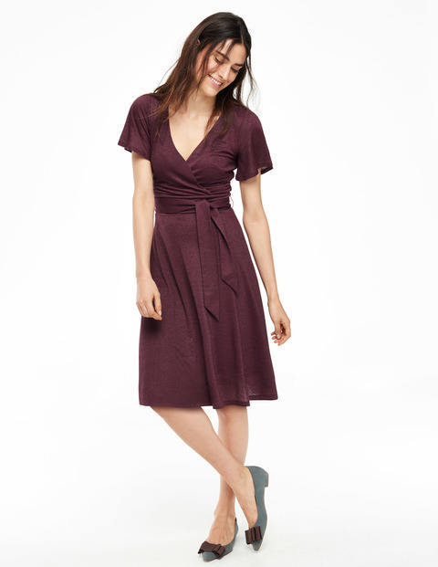 Lara Sparkle Dress Damson Women, Damson - style: faux wrap/wrap; neckline: v-neck; fit: fitted at waist; pattern: plain; waist detail: belted waist/tie at waist/drawstring; bust detail: subtle bust detail; predominant colour: burgundy; occasions: evening, occasion; length: on the knee; fibres: viscose/rayon - stretch; sleeve length: short sleeve; sleeve style: standard; pattern type: fabric; texture group: jersey - stretchy/drapey; season: a/w 2015; wardrobe: event