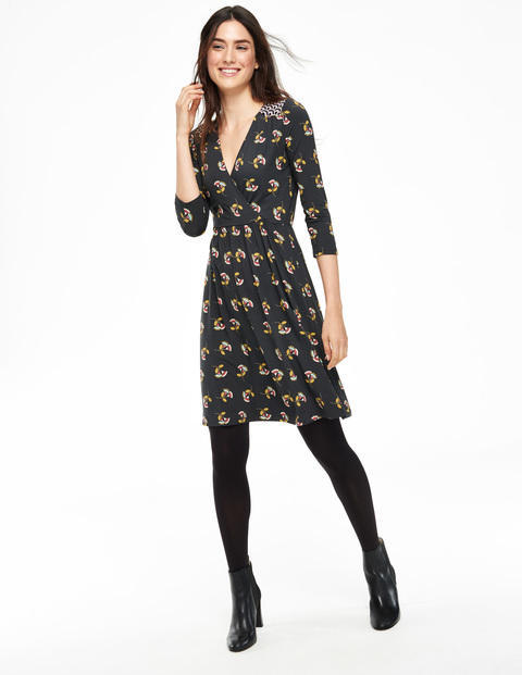 Glenda Dress Raven Thirties Floral Women, Raven Thirties Floral - style: shift; neckline: v-neck; secondary colour: yellow; predominant colour: black; occasions: casual, creative work; length: just above the knee; fit: soft a-line; fibres: viscose/rayon - stretch; sleeve length: 3/4 length; sleeve style: standard; pattern type: fabric; pattern size: standard; pattern: patterned/print; texture group: jersey - stretchy/drapey; multicoloured: multicoloured; season: a/w 2015; wardrobe: highlight