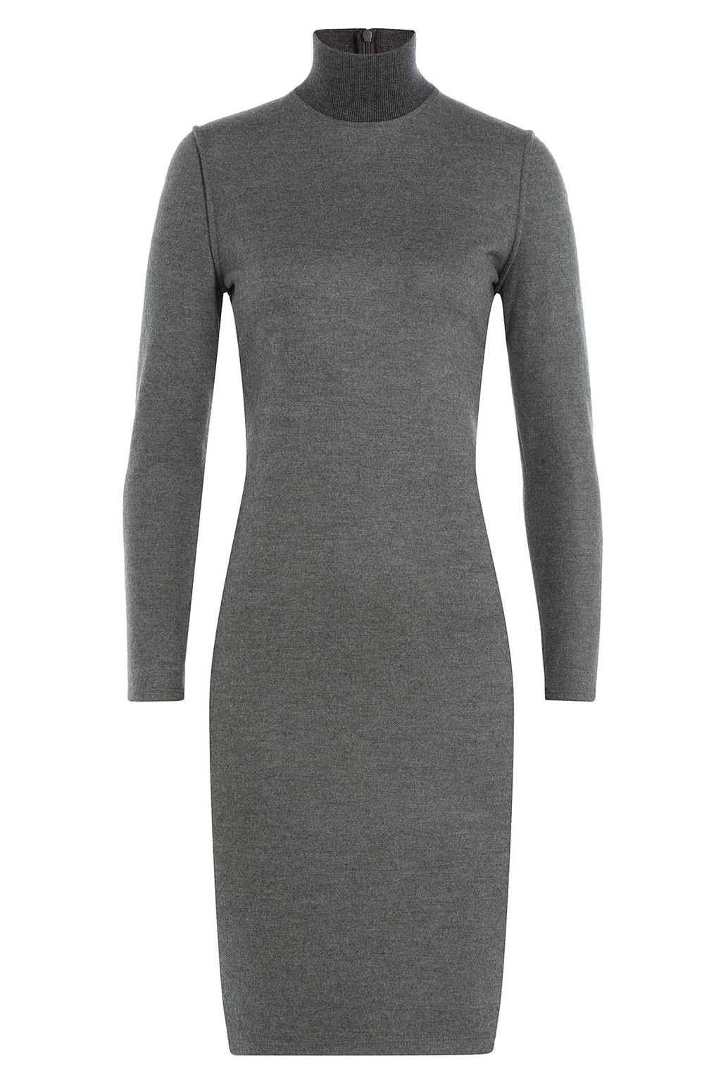 Wool Dress - fit: tight; pattern: plain; style: bodycon; neckline: roll neck; predominant colour: mid grey; length: on the knee; sleeve length: long sleeve; sleeve style: standard; pattern type: knitted - fine stitch; texture group: jersey - stretchy/drapey; occasions: creative work; season: a/w 2015; wardrobe: investment