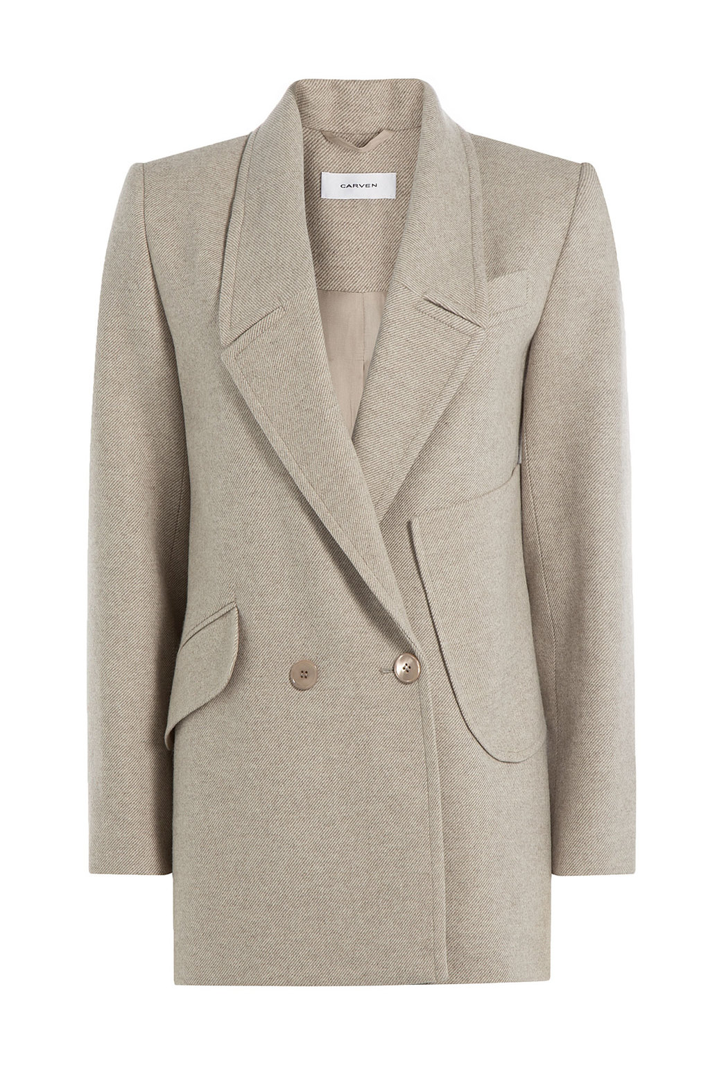 Virgin Wool Jacket Beige - pattern: plain; style: double breasted blazer; length: below the bottom; collar: standard lapel/rever collar; predominant colour: stone; occasions: casual, creative work; fit: tailored/fitted; fibres: wool - 100%; sleeve length: long sleeve; sleeve style: standard; collar break: medium; pattern type: fabric; texture group: woven light midweight; hip detail: front pockets at hip; season: a/w 2015