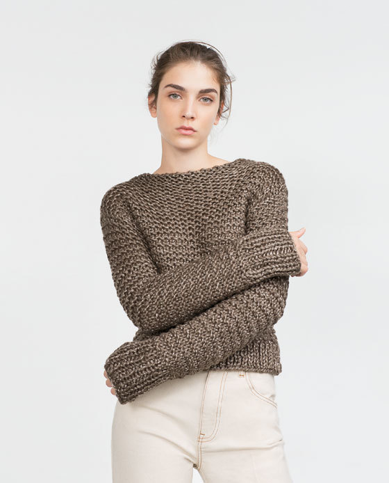 Cropped Sweater - neckline: slash/boat neckline; pattern: plain; sleeve style: sleeveless; style: standard; predominant colour: chocolate brown; occasions: casual, creative work; length: standard; fibres: acrylic - mix; fit: slim fit; sleeve length: long sleeve; texture group: knits/crochet; pattern type: knitted - big stitch; season: a/w 2015; wardrobe: basic