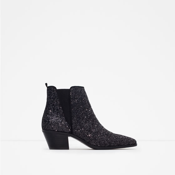Sparkle Ankle Boots - predominant colour: black; occasions: casual, creative work; material: faux leather; heel height: mid; embellishment: glitter; heel: standard; toe: pointed toe; boot length: ankle boot; style: standard; finish: metallic; pattern: plain; season: a/w 2015; wardrobe: highlight