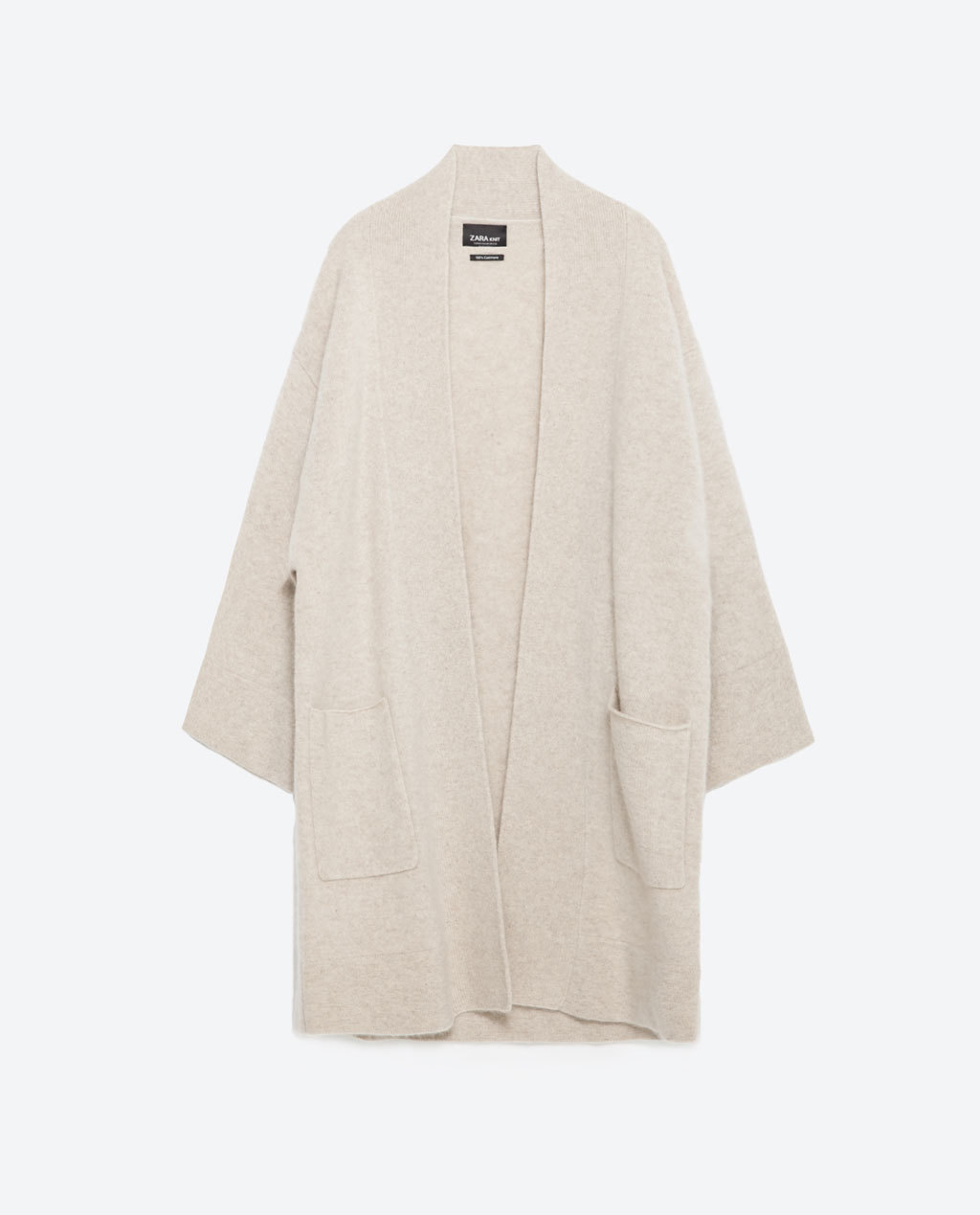Cashmere Cardigan - sleeve style: dolman/batwing; pattern: plain; neckline: collarless open; style: open front; predominant colour: stone; occasions: casual, creative work; fit: loose; length: mid thigh; sleeve length: long sleeve; texture group: knits/crochet; season: a/w 2015; wardrobe: basic