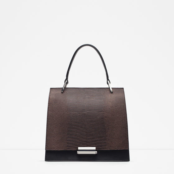 Mini Embossed City Bag - predominant colour: chocolate brown; secondary colour: black; type of pattern: standard; style: tote; length: handle; size: small; material: faux leather; finish: plain; pattern: colourblock; occasions: creative work; multicoloured: multicoloured; season: a/w 2015; wardrobe: highlight