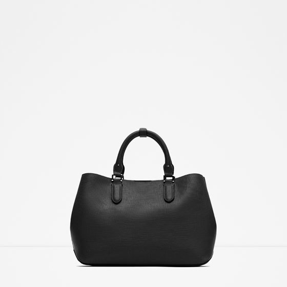 Basic City Bag - predominant colour: black; occasions: work, creative work; type of pattern: standard; style: tote; length: handle; size: oversized; material: faux leather; pattern: plain; finish: plain; season: a/w 2015