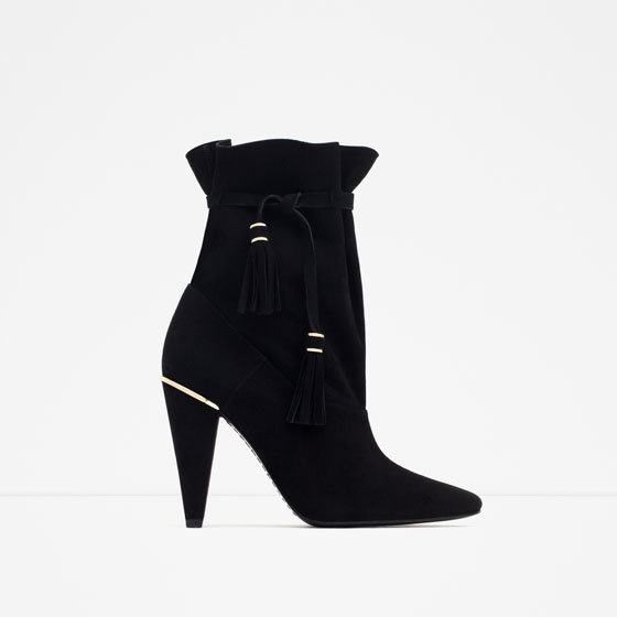 High Heel Leather Ankle Boots With Straps - predominant colour: black; material: suede; heel height: high; heel: cone; toe: pointed toe; boot length: mid calf; style: standard; finish: plain; pattern: plain; occasions: creative work; season: a/w 2015; wardrobe: highlight