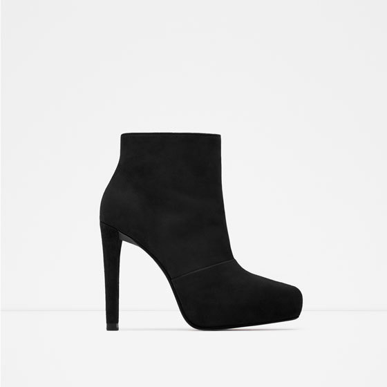 Suede Platform Ankle Boots - predominant colour: black; material: suede; heel: stiletto; toe: round toe; boot length: ankle boot; style: standard; finish: plain; pattern: plain; heel height: very high; occasions: creative work; shoe detail: platform; season: a/w 2015; wardrobe: highlight