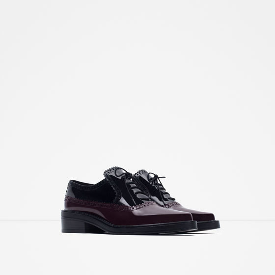 Combined Leather Flat Shoe - predominant colour: aubergine; secondary colour: black; occasions: casual, creative work; material: leather; heel height: flat; toe: pointed toe; style: brogues; finish: patent; pattern: plain; season: a/w 2015