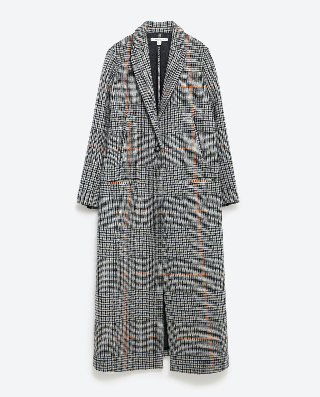 Long Coat - pattern: checked/gingham; style: single breasted; collar: standard lapel/rever collar; length: calf length; secondary colour: nude; predominant colour: light grey; occasions: casual, creative work; fit: straight cut (boxy); sleeve length: long sleeve; sleeve style: standard; collar break: medium; pattern size: standard; texture group: woven light midweight; season: a/w 2015