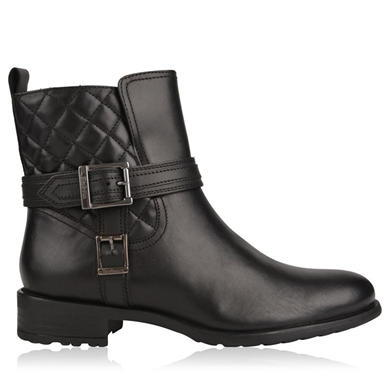 Felton Buckle Boots - predominant colour: black; occasions: casual, creative work; material: leather; heel height: flat; embellishment: quilted; heel: standard; toe: round toe; boot length: ankle boot; style: biker boot; finish: plain; pattern: plain; season: a/w 2015; wardrobe: basic