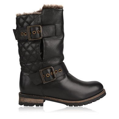 Kickstart Boots - predominant colour: black; occasions: casual, creative work; material: leather; heel height: mid; embellishment: quilted; heel: block; toe: round toe; boot length: ankle boot; style: biker boot; finish: plain; pattern: plain; shoe detail: tread; season: a/w 2015; wardrobe: basic