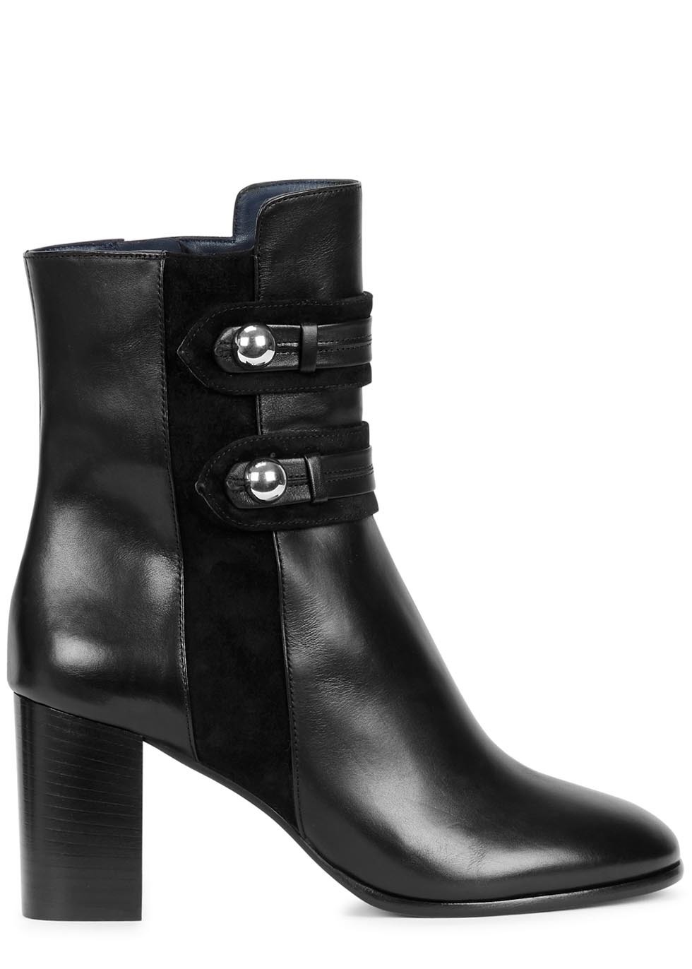 Brandebourg Black Leather Ankle Boots - predominant colour: black; occasions: casual, creative work; material: leather; heel height: high; embellishment: studs; heel: block; toe: round toe; boot length: ankle boot; style: standard; finish: plain; pattern: plain; season: a/w 2015; wardrobe: highlight