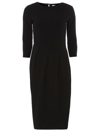 Womens **Closet Black Drape Midi Dress Black - style: shift; pattern: plain; predominant colour: black; occasions: evening; length: on the knee; fit: body skimming; fibres: polyester/polyamide - stretch; neckline: crew; sleeve length: 3/4 length; sleeve style: standard; pattern type: fabric; texture group: other - light to midweight; season: a/w 2015