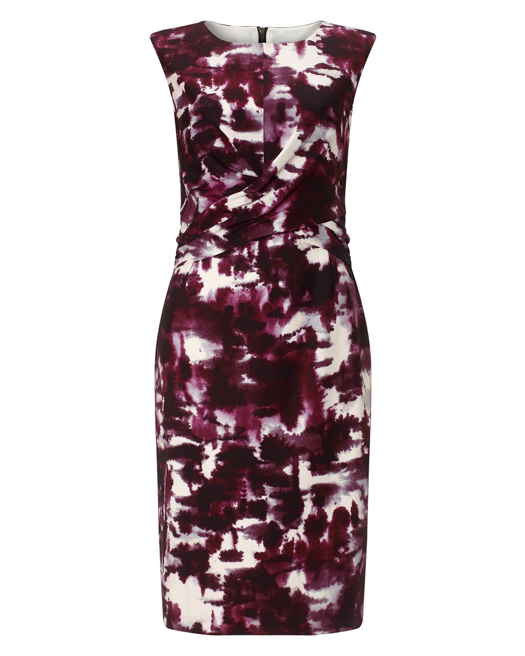 Bruges Print Dress - style: shift; neckline: round neck; fit: tailored/fitted; sleeve style: sleeveless; secondary colour: white; predominant colour: aubergine; occasions: evening, occasion; length: just above the knee; fibres: polyester/polyamide - stretch; sleeve length: sleeveless; pattern type: fabric; pattern size: big & busy; pattern: patterned/print; texture group: jersey - stretchy/drapey; season: a/w 2015; wardrobe: event