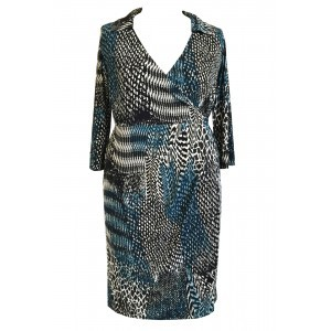 Blur Jersey Wrap Dress - style: faux wrap/wrap; neckline: v-neck; predominant colour: turquoise; secondary colour: mid grey; length: just above the knee; fit: body skimming; occasions: occasion; sleeve length: long sleeve; sleeve style: standard; pattern type: fabric; pattern: patterned/print; texture group: jersey - stretchy/drapey; season: a/w 2015; wardrobe: event