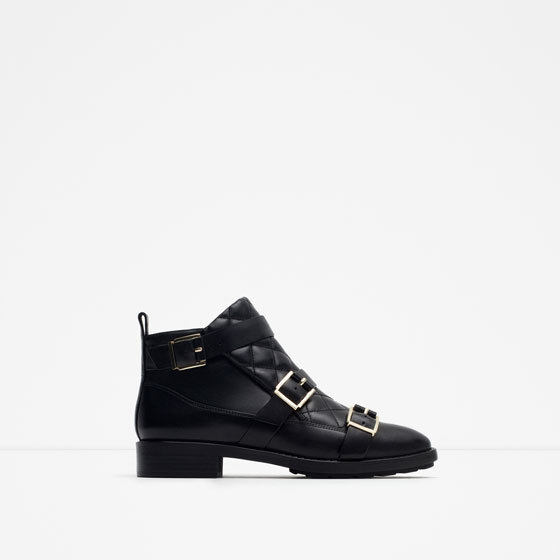 Padded Leather Ankle Boots - predominant colour: black; occasions: casual, creative work; material: leather; heel height: mid; embellishment: buckles; heel: block; toe: round toe; boot length: ankle boot; style: standard; finish: plain; pattern: plain; season: a/w 2015