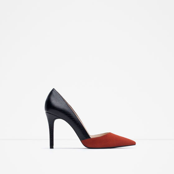 Mid Heel Combined Court Shoes - predominant colour: black; occasions: evening, creative work; material: faux leather; heel height: high; heel: stiletto; toe: pointed toe; style: courts; finish: plain; pattern: colourblock; secondary colour: raspberry; season: a/w 2015; wardrobe: highlight