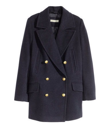Pea Coat - pattern: plain; length: below the bottom; style: pea coat; collar: standard lapel/rever collar; predominant colour: navy; occasions: work, creative work; fit: tailored/fitted; sleeve length: long sleeve; sleeve style: standard; collar break: medium; texture group: woven bulky/heavy; season: a/w 2015; wardrobe: investment