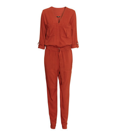 Long Sleeved Jumpsuit - length: standard; neckline: v-neck; fit: fitted at waist; pattern: plain; predominant colour: bright orange; occasions: evening; sleeve length: 3/4 length; sleeve style: standard; texture group: cotton feel fabrics; style: jumpsuit; season: a/w 2015; wardrobe: event