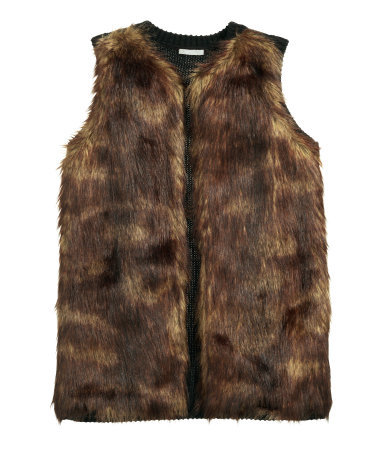 Faux Fur Waistcoat - pattern: plain; sleeve style: sleeveless; style: gilet; collar: round collar/collarless; predominant colour: chocolate brown; occasions: casual, creative work; length: standard; fit: straight cut (boxy); sleeve length: sleeveless; texture group: fur; collar break: high; season: a/w 2015; wardrobe: highlight