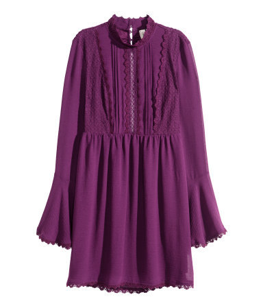 Dress With A Lace Trim - style: shift; length: mid thigh; sleeve style: angel/waterfall; pattern: plain; predominant colour: purple; secondary colour: purple; occasions: casual, evening, creative work; fit: soft a-line; neckline: collarstand; sleeve length: long sleeve; texture group: sheer fabrics/chiffon/organza etc.; pattern type: fabric; embellishment: lace; season: a/w 2015; wardrobe: highlight; embellishment location: bust