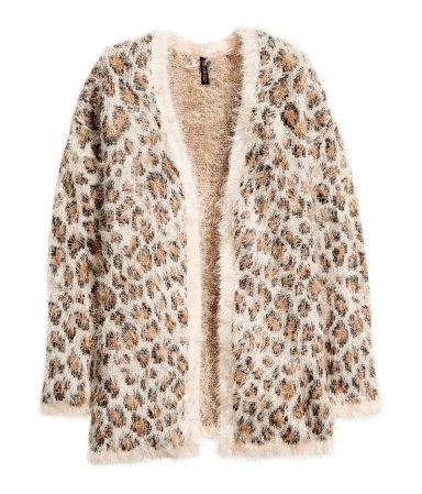 Knitted Cardigan - length: below the bottom; neckline: collarless open; style: open front; predominant colour: camel; occasions: casual, creative work; fit: loose; sleeve length: long sleeve; sleeve style: standard; texture group: knits/crochet; pattern: animal print; season: a/w 2015; wardrobe: highlight