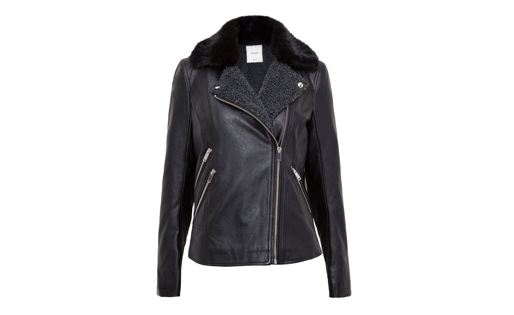 Faux Leather Double Breasted Jacket With Fur Lining - pattern: plain; style: biker; collar: asymmetric biker; fit: slim fit; predominant colour: black; occasions: casual, creative work; length: standard; fibres: polyester/polyamide - mix; sleeve length: long sleeve; sleeve style: standard; texture group: leather; collar break: medium; pattern type: fabric; embellishment: fur; season: a/w 2015; wardrobe: basic