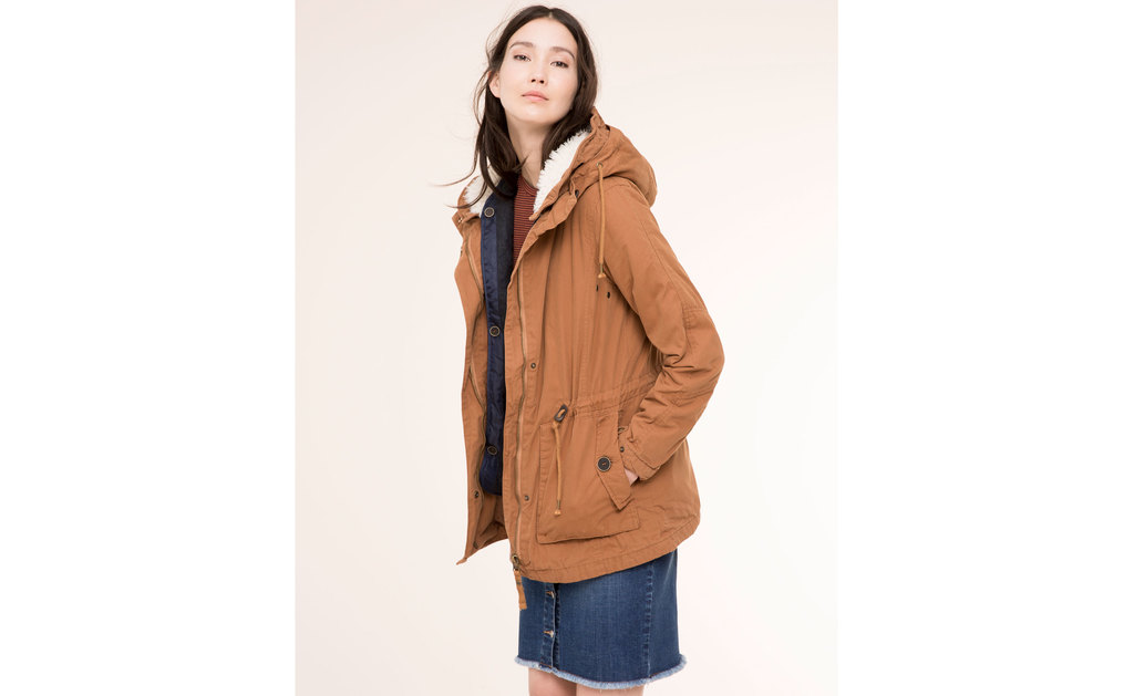 Parka With Interior Waistcoat - pattern: plain; length: below the bottom; style: parka; back detail: hood; collar: high neck; predominant colour: tan; fit: straight cut (boxy); sleeve length: long sleeve; sleeve style: standard; texture group: technical outdoor fabrics; collar break: high; pattern type: fabric; season: a/w 2015; wardrobe: highlight