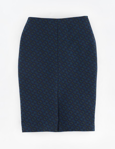 Patricia Skirt Bright Blue - style: pencil; fit: tailored/fitted; waist: high rise; predominant colour: navy; occasions: work; length: just above the knee; fibres: wool - 100%; pattern type: fabric; pattern: patterned/print; texture group: woven light midweight; pattern size: big & busy (bottom); season: a/w 2015; wardrobe: highlight