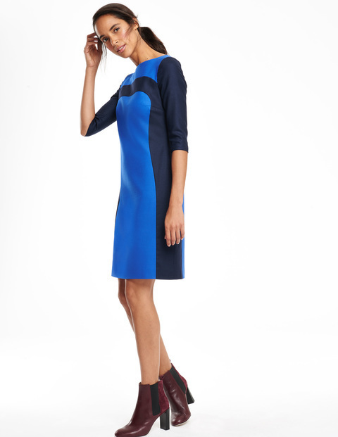 Workwear Panel Dress Bright Blue & Navy Women, Bright Blue & Navy - style: shift; neckline: slash/boat neckline; predominant colour: diva blue; secondary colour: navy; occasions: casual, creative work; length: just above the knee; fit: straight cut; fibres: viscose/rayon - stretch; sleeve length: 3/4 length; sleeve style: standard; pattern type: fabric; pattern size: standard; pattern: colourblock; texture group: woven light midweight; season: a/w 2015