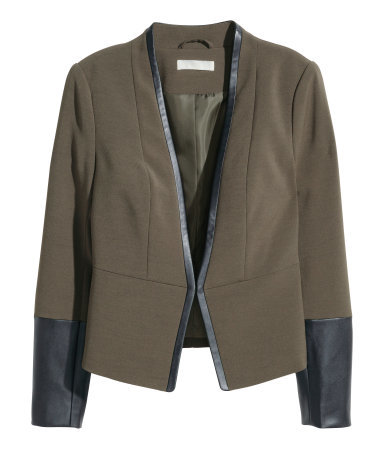 Short Jacket - style: single breasted blazer; collar: round collar/collarless; predominant colour: khaki; secondary colour: black; occasions: evening, creative work; length: standard; fit: tailored/fitted; fibres: polyester/polyamide - 100%; sleeve length: long sleeve; sleeve style: standard; collar break: medium; pattern type: fabric; pattern size: standard; pattern: colourblock; texture group: woven light midweight; season: a/w 2015; wardrobe: investment